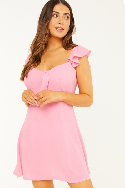 Petite Pink Tie Skater Dress